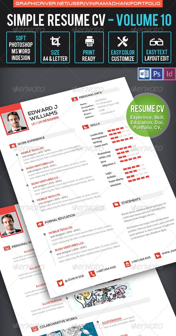Clean Resume CV Volume 10 - Resumes Stationery