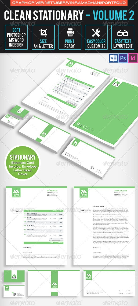 Clean Stationary Volume 2 - Stationery Print Templates