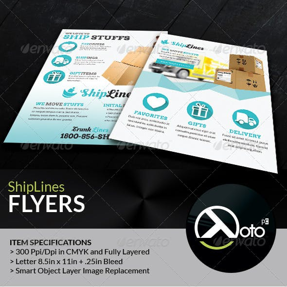 Ship Lines Shipping Service Flyers