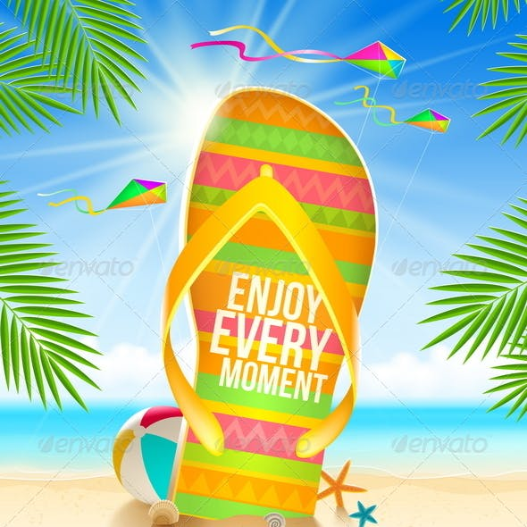 Flip-Flop with Summer Greeting on Beach