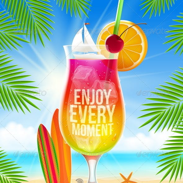 Cocktail and Summer Greeting on Tropical Beach
