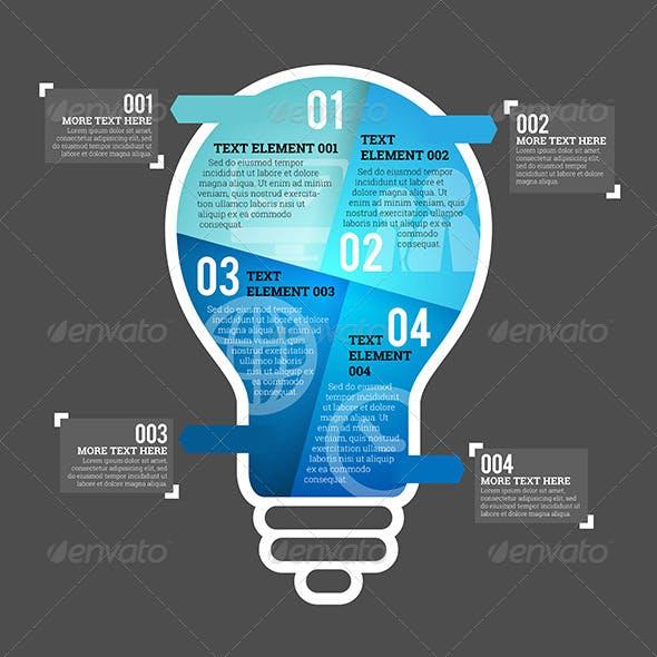 Four Part Bulb Infographic Element