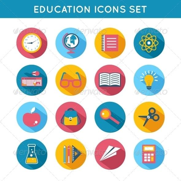 Education Icons Flat Set
