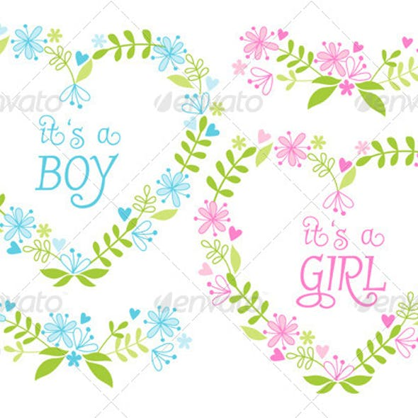 Baby Boy and Girl Floral Heart Frames Set