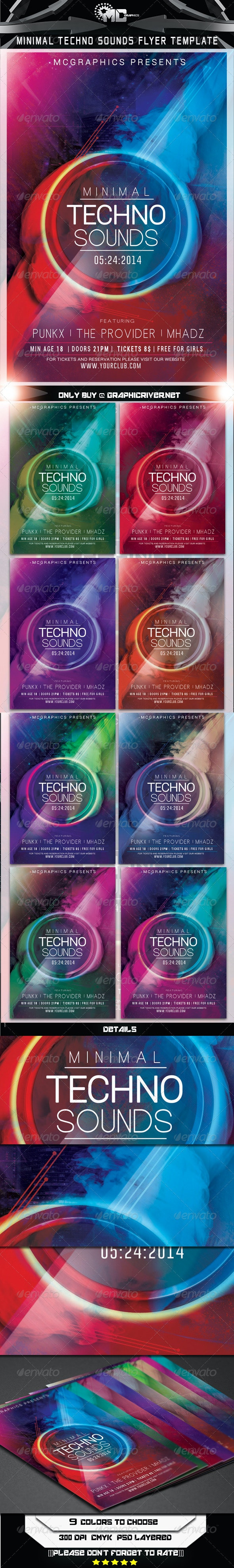 Minimal Techno Sounds Flyer Template - Flyers Print Templates