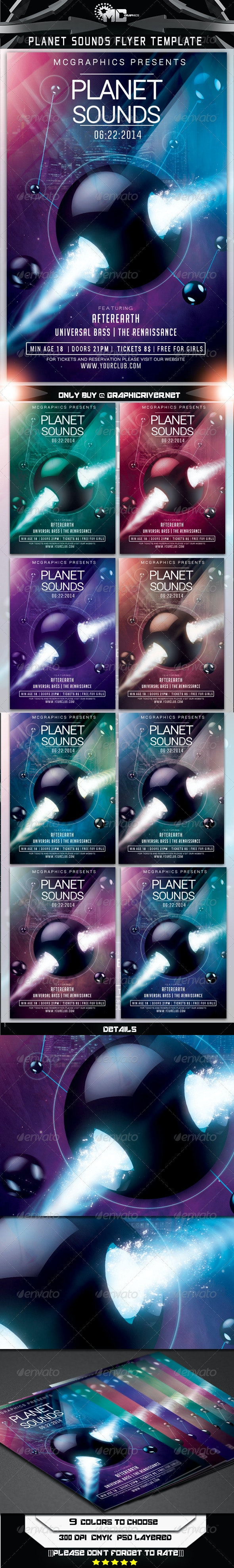 Planet Sounds Flyer Template - Flyers Print Templates