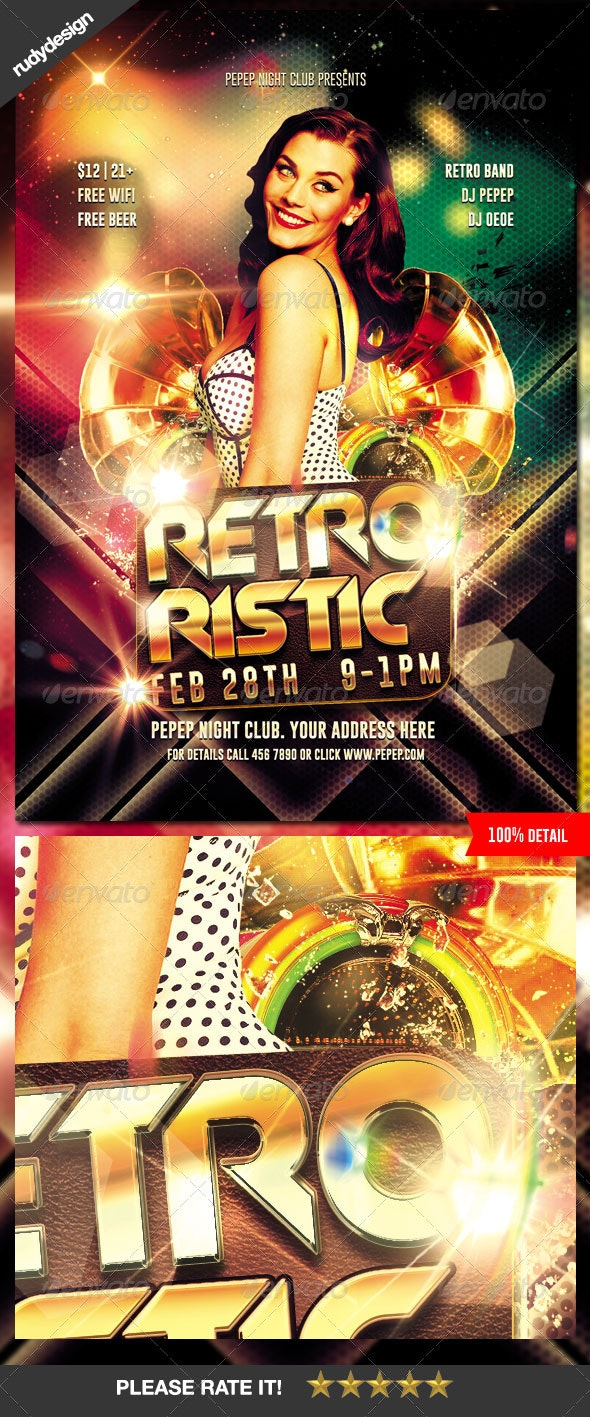 Retro Party Flyer Design - Clubs & Parties Events