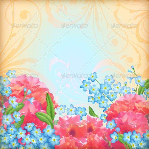 Retro Flowers Roses Background Set