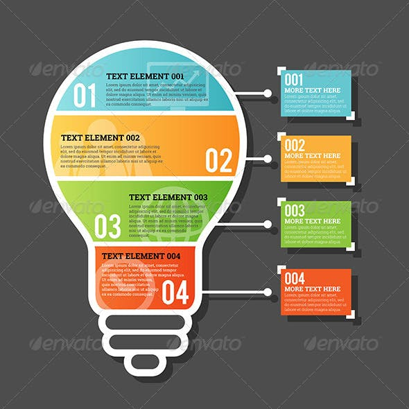 Four Part Horizontal Bulb Infographic