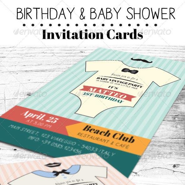 Baby Shower & Birthday Invitation Card