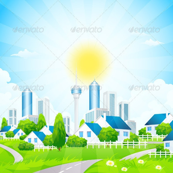 Green Landscape with City and Village - Landscapes Nature