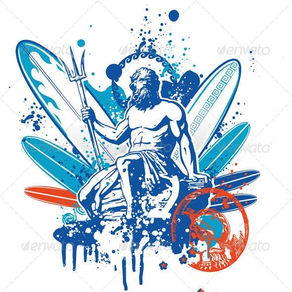 Poseidon on Surfboard