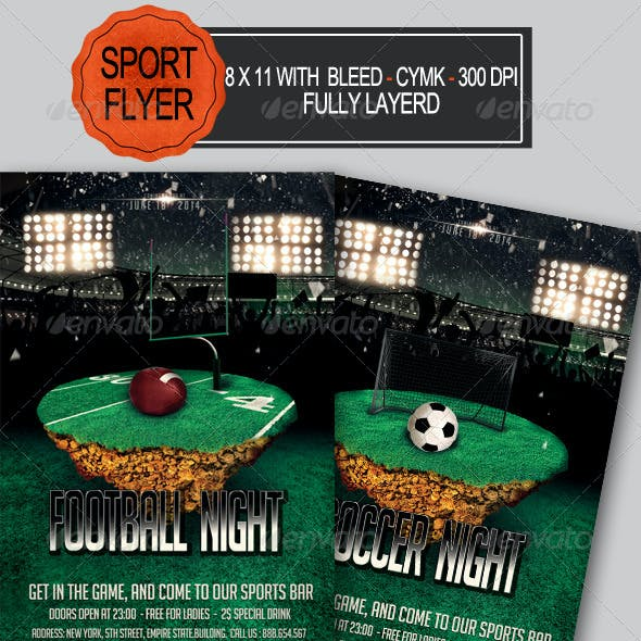 Football and Soccer Night Flyer
