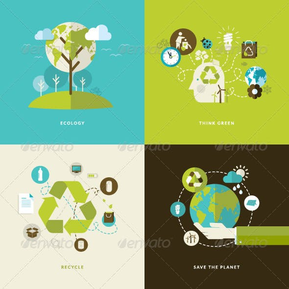 Flat Design Concept Icons for Recycling