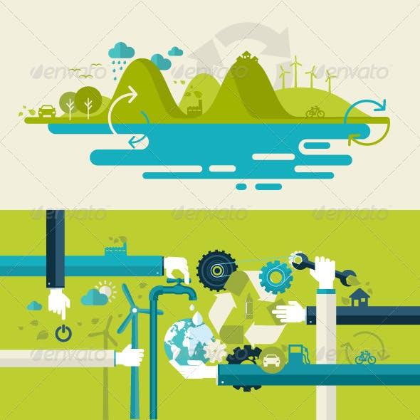 Flat Design Concepts for Renewable Energy