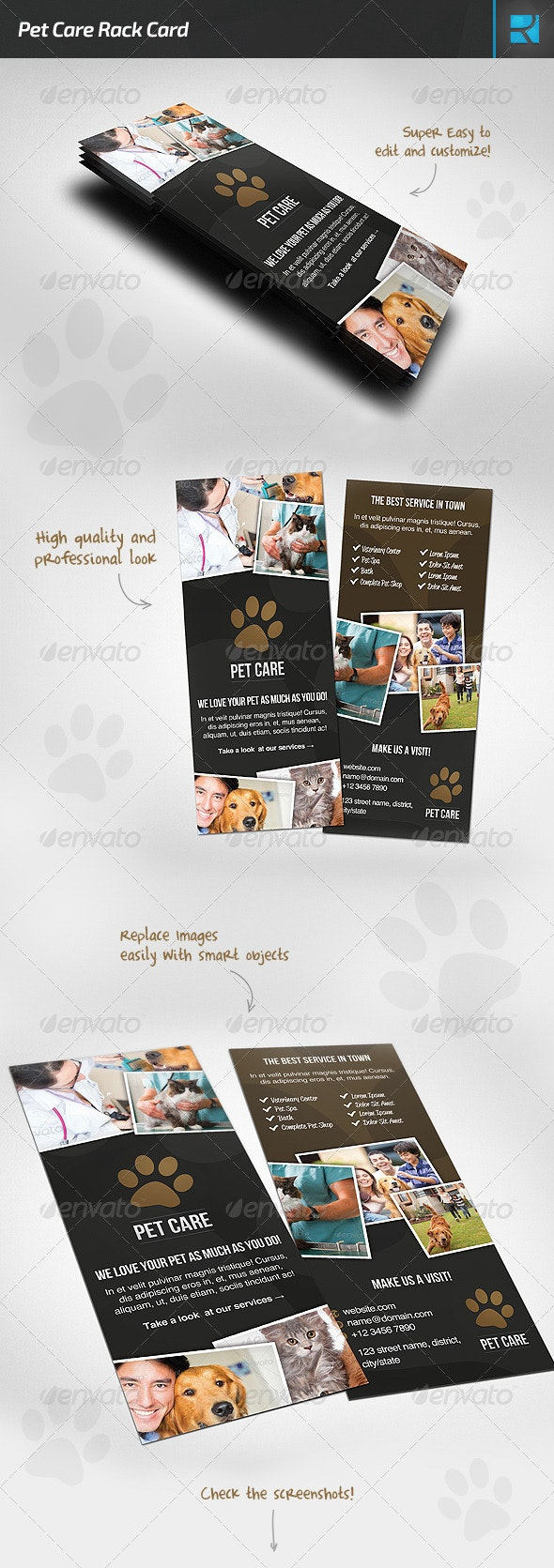 Pet Care Rack Card - Flyers Print Templates