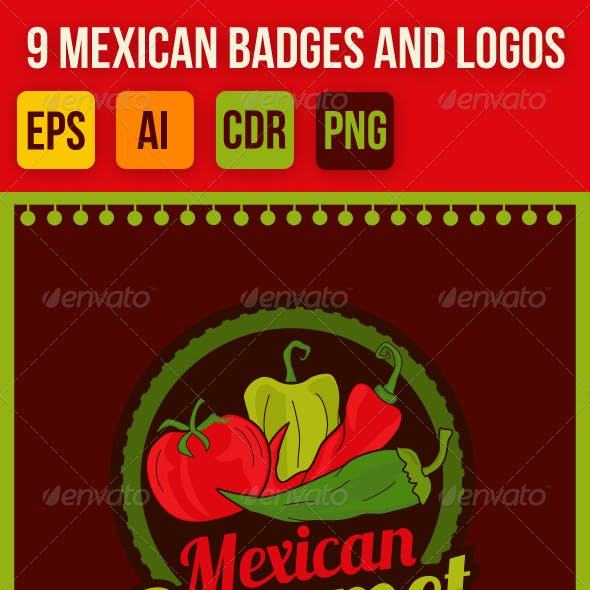 9 Mexican Vector Badges, Emblems and Logos