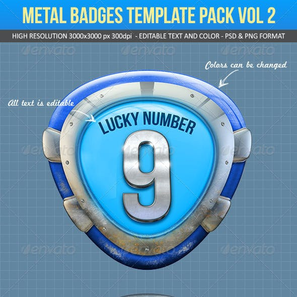 Metal Badges Template Pack Vol 2