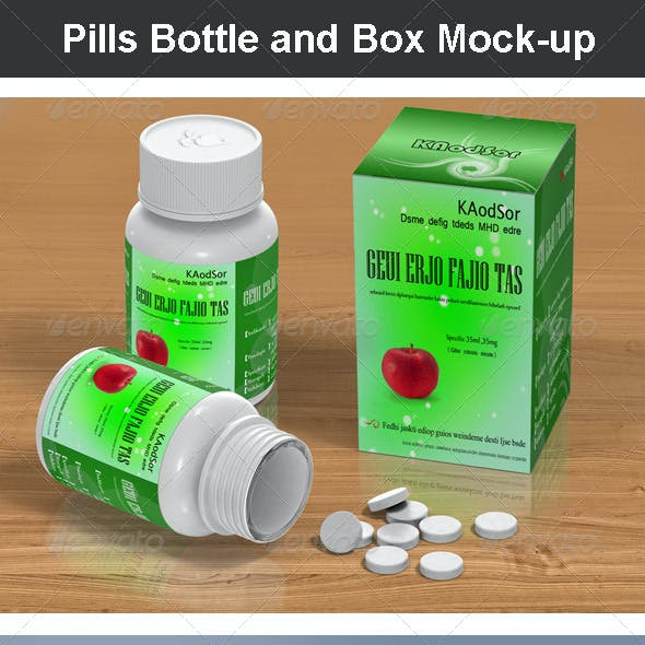 Pills Bottle and Box Mock-up