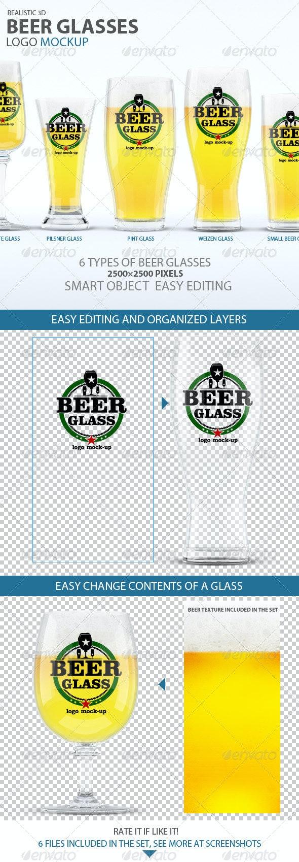Beer Glasses Logo Mockup - Food and Drink Packaging
