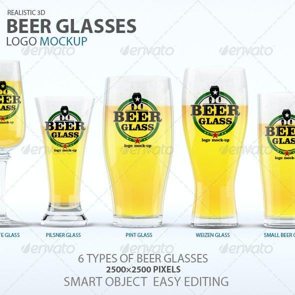 Beer Glasses Logo Mockup