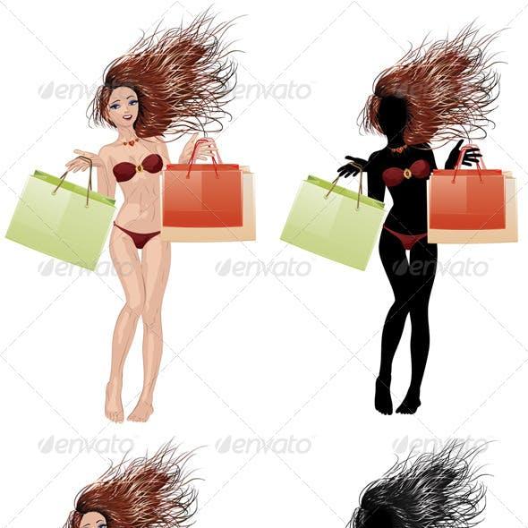 Bikini Girl Going Shopping