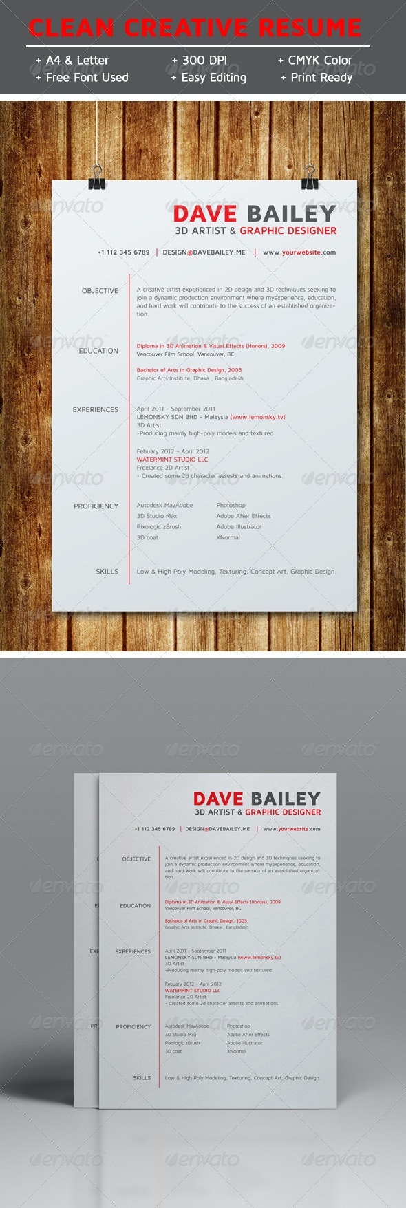 Clean Creative Resume V1 - Resumes Stationery