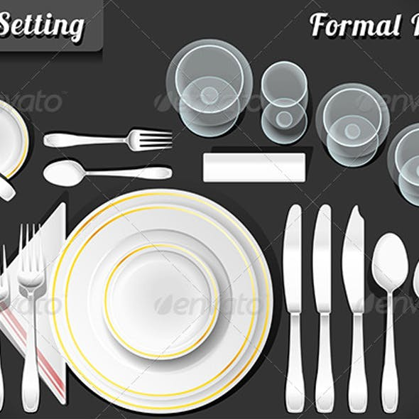 Set of Place Setting Formal Dinner