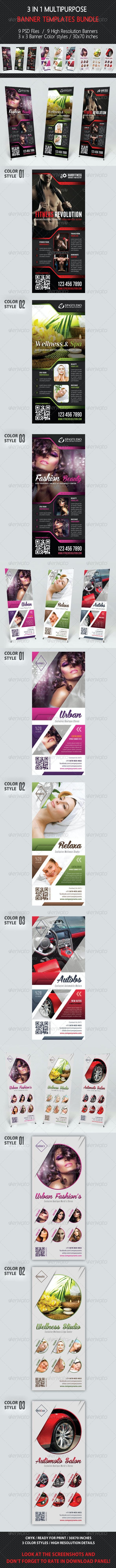 3 in 1 Multipurpose Banner  Bundle 01 - Signage Print Templates