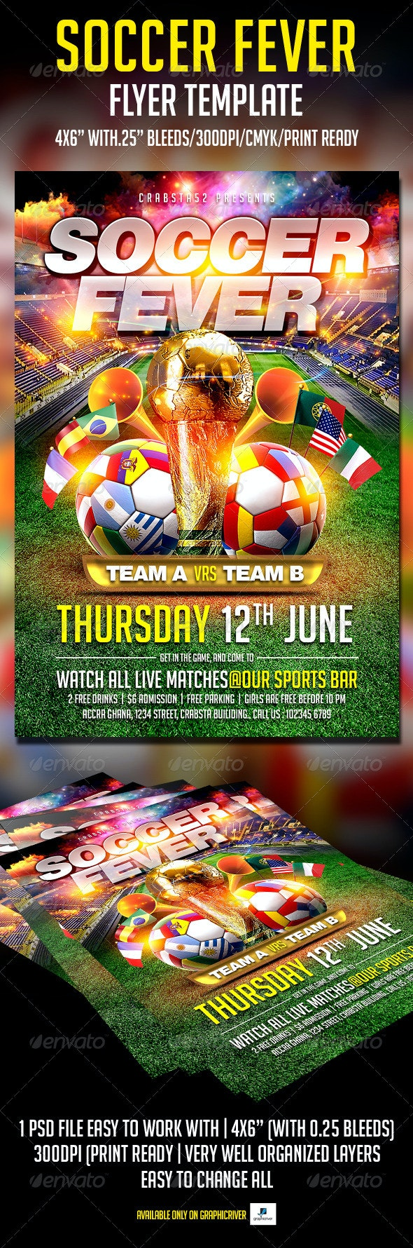 Soccer Fever Flyer Template  - Flyers Print Templates