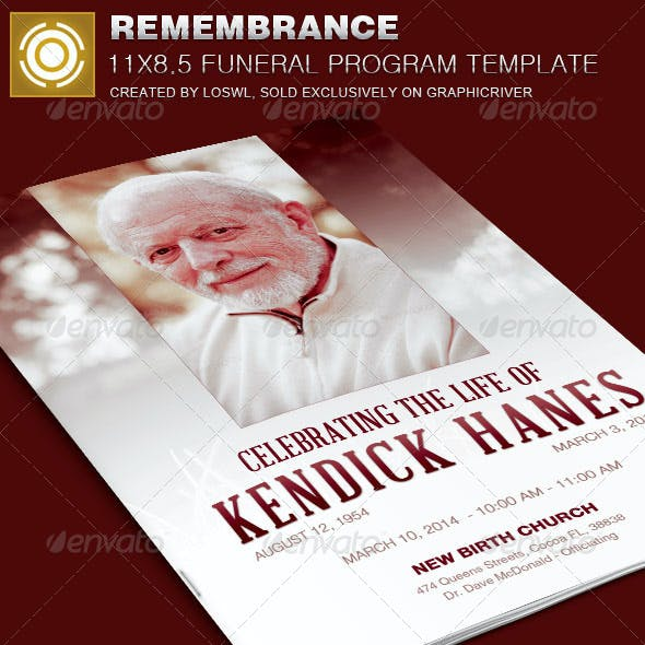 In Remembrance Funeral Program Template