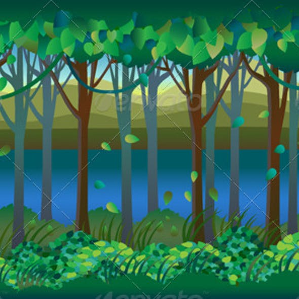 Forest by Riverside 2D Background