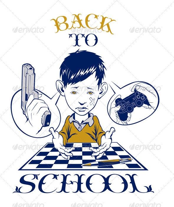 Cartoon Back School Boy  - People Characters