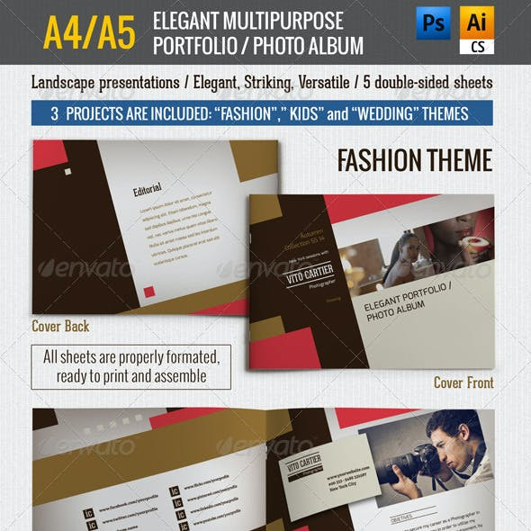 A4/A5 Elegant Multipurpose Portfolio / Photo Album