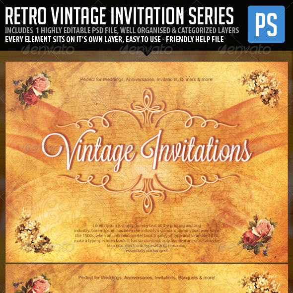 Retro Vintage Invitation Template