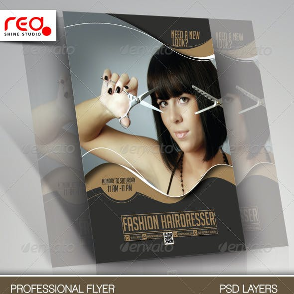 Fashion Hairdresser Flyer & Poster Template