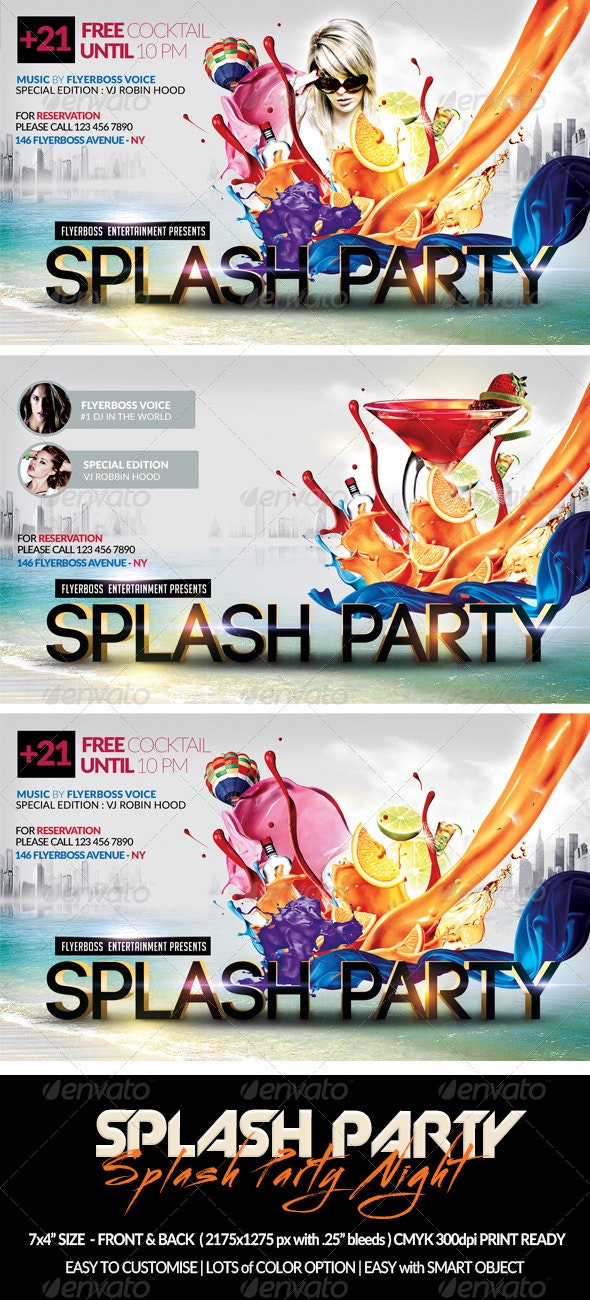 Splash Party Flyer-Front & Back - Events Flyers