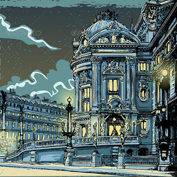 Vintage Hand Drawn View of Opera in Paris