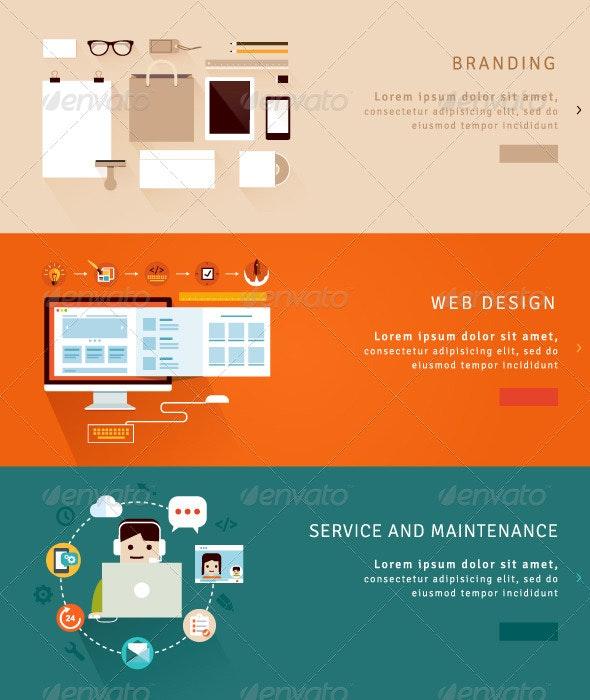 Web Design and Branding Concepts - Conceptual Vectors