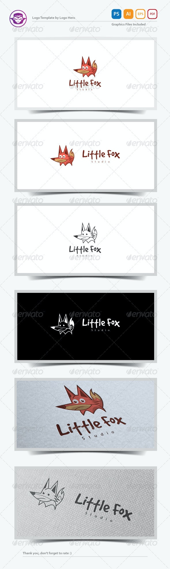 Little Fox Logo Template - Animals Logo Templates