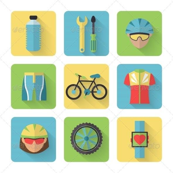 Bicycle Flat Icons Set