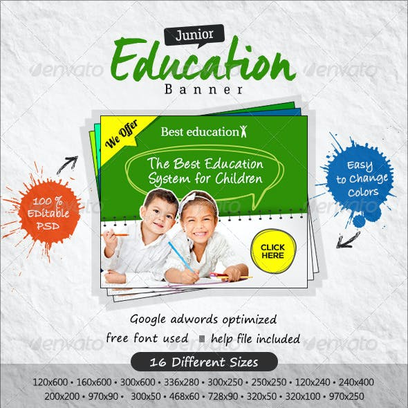 Kids Education Banners