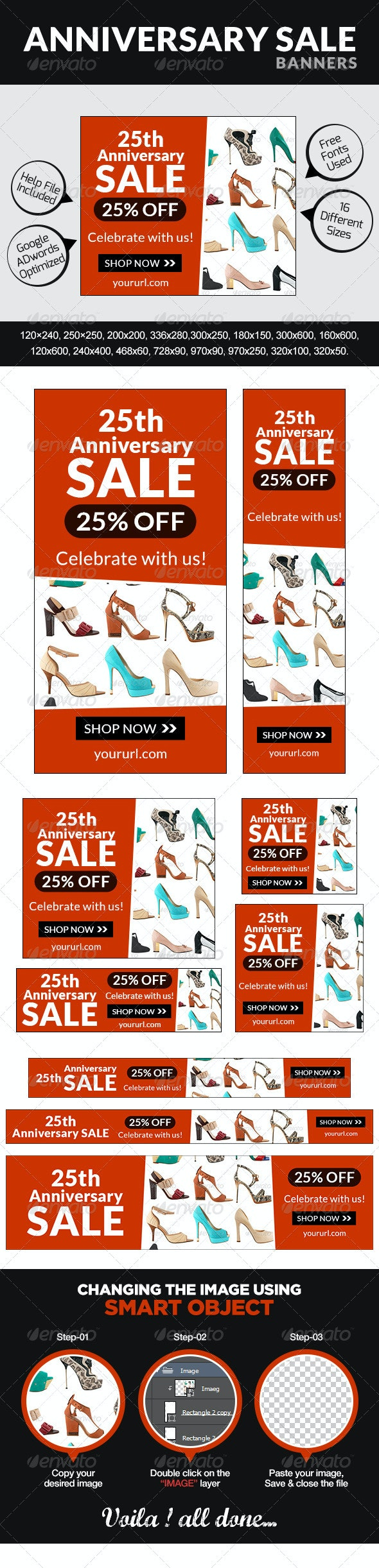 Anniversary Sale Banners - Banners & Ads Web Elements