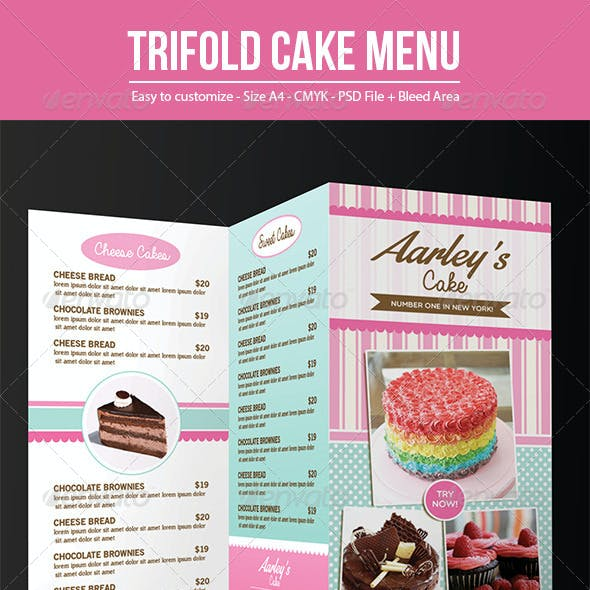 Trifold Cake Menu + Business Card