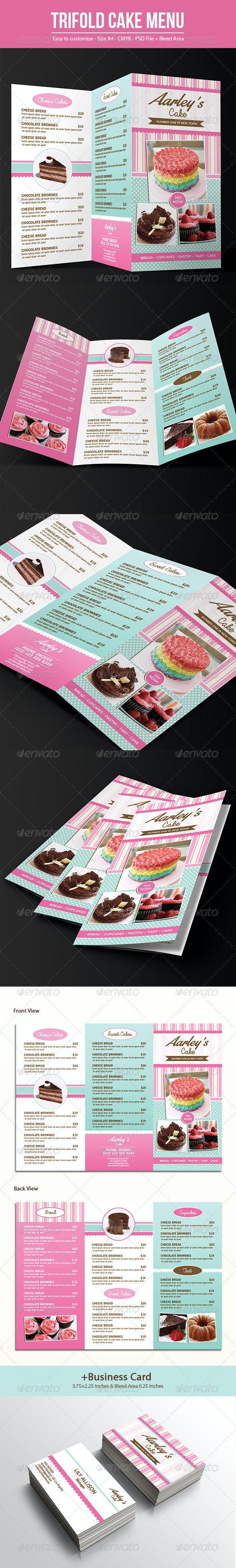 Trifold Cake Menu + Business Card - Food Menus Print Templates