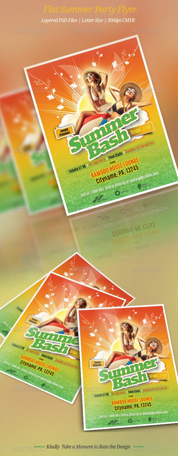 Flat Summer Party Flyer - Clubs & Parties Events