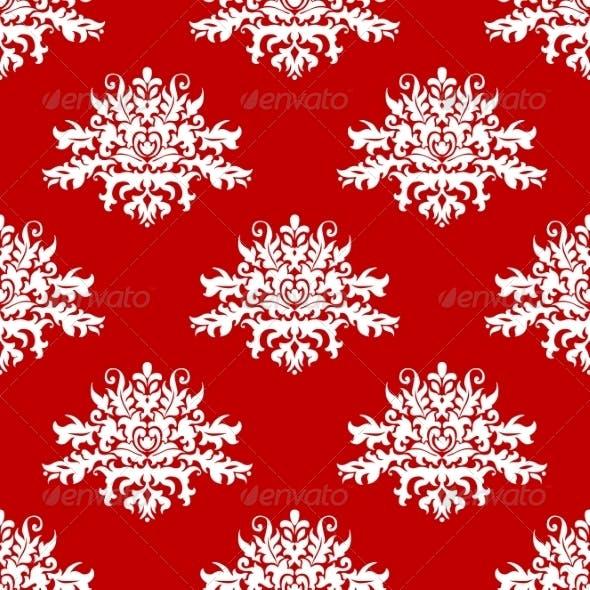 Red or Amaranth Damask Style Fabric Pattern