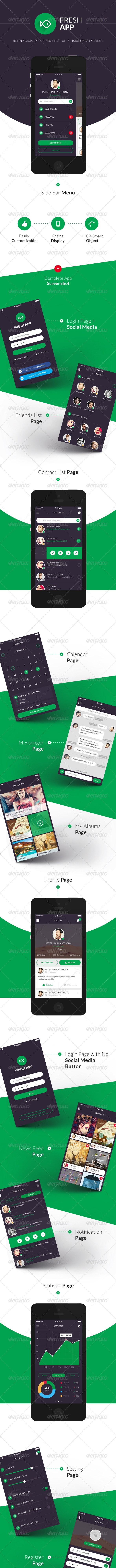 Fresh Flat Mobile UI Kit - User Interfaces Web Elements