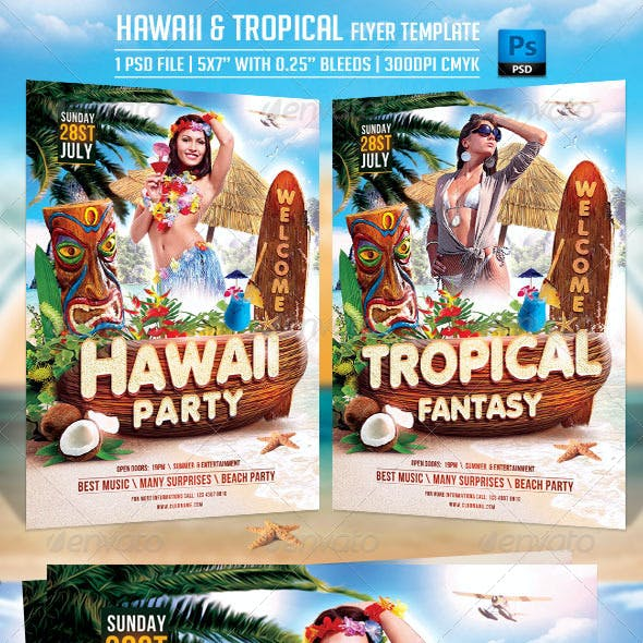 Hawaii and Tropical Flyer Template