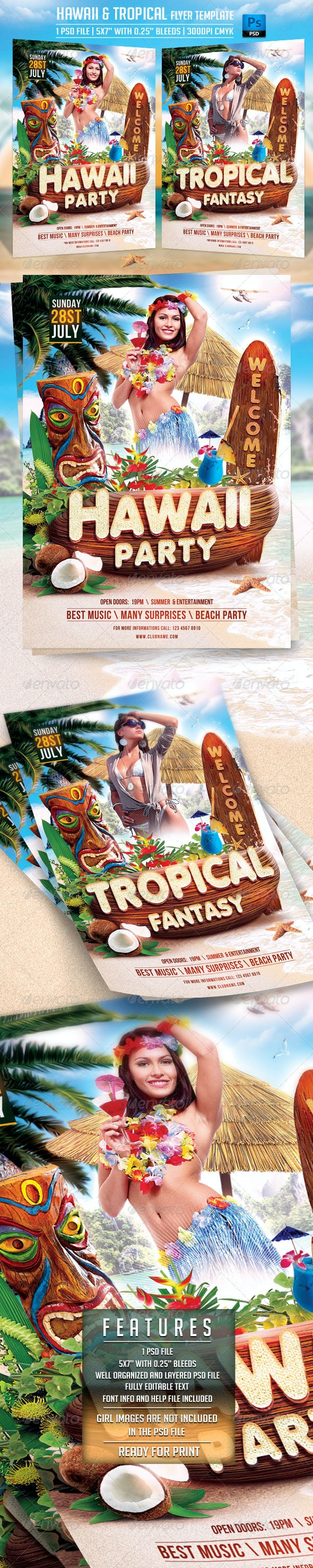 Hawaii and Tropical Flyer Template - Flyers Print Templates